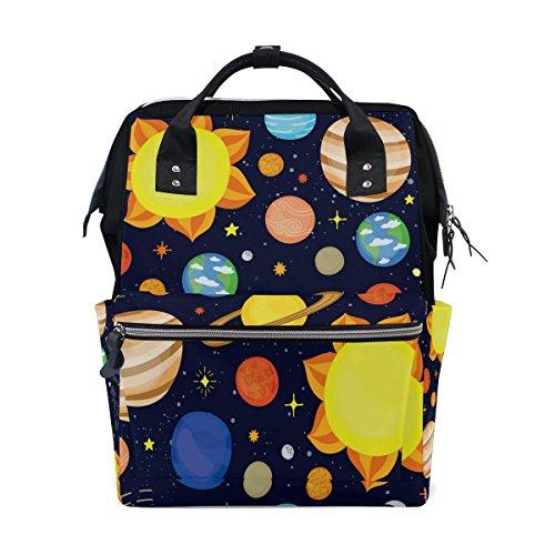 WOZO Cute Dark Solar System Multi-function Diaper Bags Backpack Travel Bag by WOZO
