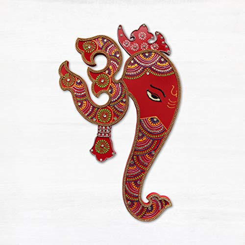 - Indian Wall Decor Artwork from India - Hindu God Ganesh with Om Wall Hanging Painting