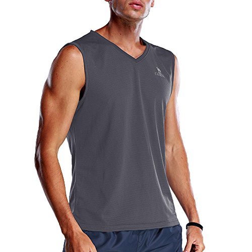 CAMEL CROWN Men's Sport Sleeveless Undershirts Activewear Muscle Tank Top Exercise(Grey,US Size (Mesh V-neck Sport Shirt)