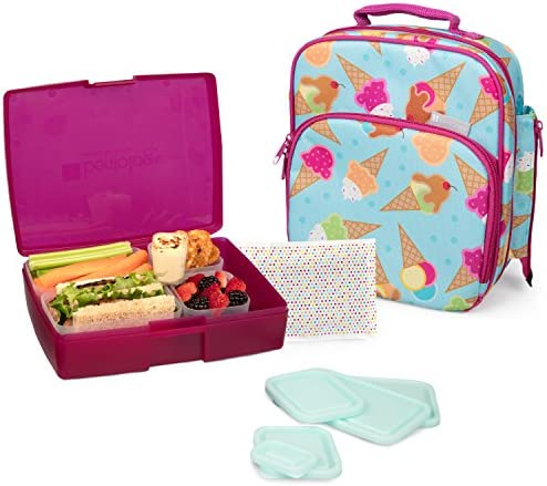 Bentology Lunch Bag and Box Set for Girls 9 Pieces Total - Kids Insulated Lunchbox Tote Bento Box 5 Containers and Ice Pack - Ice Cream