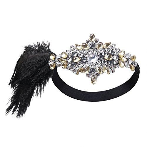 [Kayamiya Women's 1920s Gatsby Headband Crystal Feather Art Deco Inspired Flapper Headpiece] (1920s Womens Fashion Costumes)