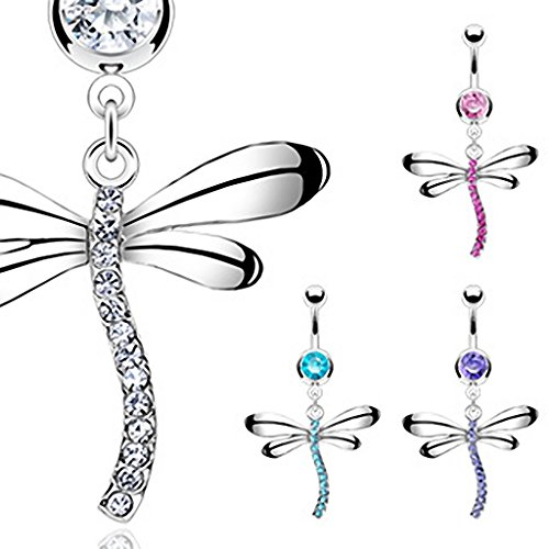 Hollywood Body Jewelry Allure Belly Button Navel Ring with Exotic Dragonfly Dangle - Purple