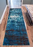 Well Woven Longlac Blue Vintage Stripe Modern Casual 100 x 140 cm (3'3' x 4'7' ft) Area Rug Thick Soft Plush Shed Free