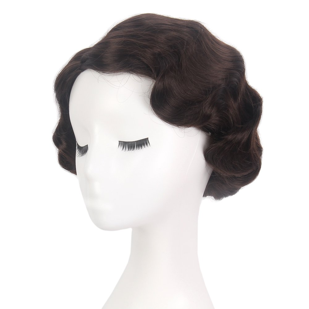STfantasy Finger Wave Wig Brown Bob Short Curly for Women Cosplay Party Costume Hair 12'' by STfantasy (Image #1)