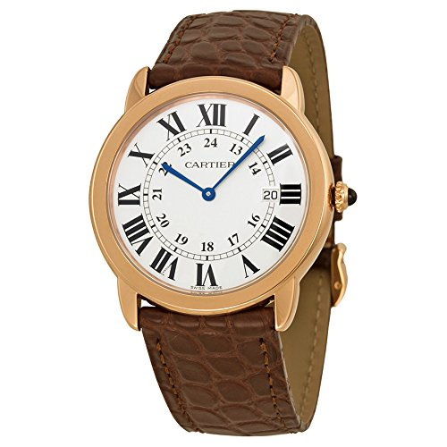 Cartier Ronde Solo De Cartier Silver Dial SS Leather Quartz Men