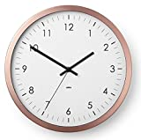 Umbra Wall Clock - 12'' Round Metal Frame - Battery Operated - Decorative Wall Clock Perfect for dorm, Kitchen, Nursery, Office, School, Hospital - With Silent Second-Hand