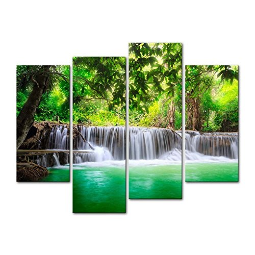 4 Pieces Modern Canvas Painting Wall Art The Picture For Home Decoration Thailand Waterfall Deep Forest In Kanjanaburi Huay Mae Kamin Landscape Waterfall Print On Canvas Giclee Artwork For Wall Decor (Art Thailand)