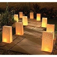 AIBER White Paper Tea Light Candle Lantern Bags Wedding Party Garden BBQ Xmas Decor Pack of 30 (Firework)