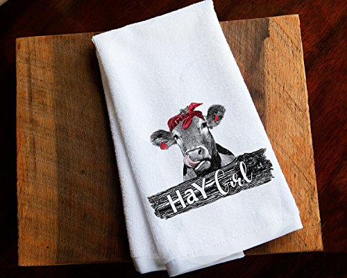 Funny Kitchen Towel Hay Cow Girl Farmhouse Home Decor (Cow Kitchen Towels)