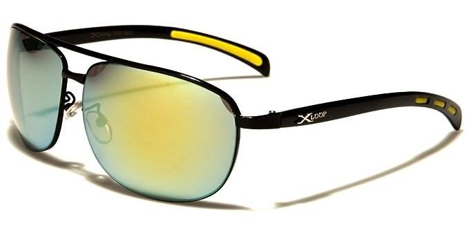 9e909b3cdc Amazon.com: Designer Modern Stylish Elegant Mirrored Lens Mens Rectangle  Sunglasses: Clothing