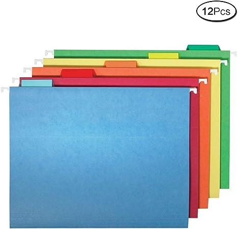 Carpetas de suspensión verticales tamaño A4, varios colores, reforzadas, 12 unidades: Amazon.es: Oficina y papelería