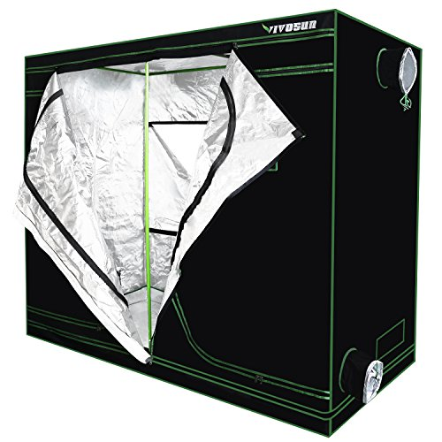 "51ELyPAisTL - VIVOSUN 96""x48""x80"" Mylar Hydroponic Grow Tent with Observation Window and Floor Tray for Indoor Plant Growing 4'x8'"