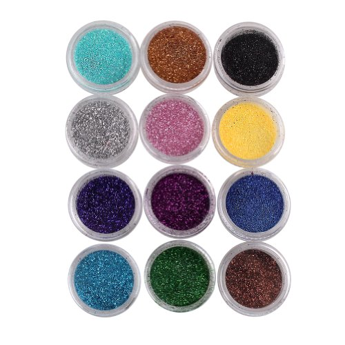 ieasysexy 12 Couleurs Nail Art Make Up Body Glitter Shimmer Powder Dust ongle poudre polonais Décoration