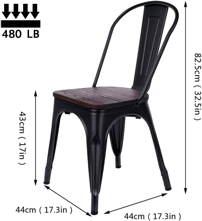 Metal Dining Chairs, Set of 4 Stackable Industrial Metal Kitchen Bistro Café Solid Wooden Seat Tolix Chairs Black