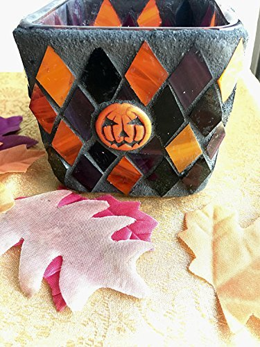 Pumpkin Stained Glass Mosaic Halloween Candle Holder