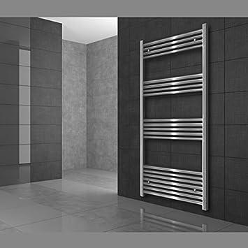 Radiador toallero de baño, calentador de toallas, 400 x 1600 mm, curvado, con conexión central, cromado: Amazon.es: Iluminación
