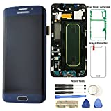 Display Touch Screen (AMOLED) Digitizer Assembly with Frame for Samsung Galaxy S6 Edge+ (5.7 inch) Verizon (G928V) (for Mobile Phone Repair Part Replacement) (Free Repair Tool Kits) (Black Sapphire)