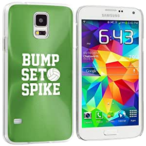 Samsung Galaxy S5 Aluminum Plated Hard Back Case Cover Bump Set Spike Volleyball (Green)