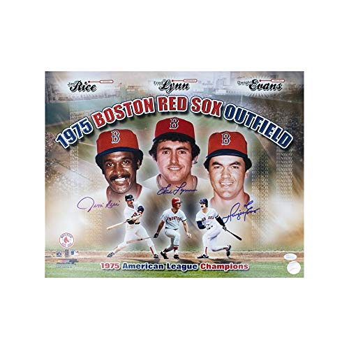 (Jim Rice Fred Lynn Dwight Evans Autographed Boston Red Sox 16x20 Photo - JSA COA)