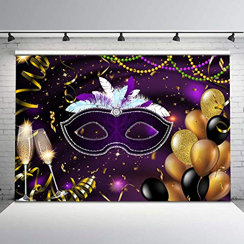 Custom Masquerade Mask - Mehofoto Retro Masquerade Backdrop Purple and Silver Mask Photo Background 7x5ft Gold Balloons Champagne Glass Glitter Confetti Photo Backdrops for Party Studio Props