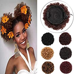Elailite Afro Kinky Curly Hair Bun Drawstring Puff Ponytail for African American Women Short Synthetic Wrap Updo Chignon Hairpiece with Clips One Piece Medium Size Dark Brown