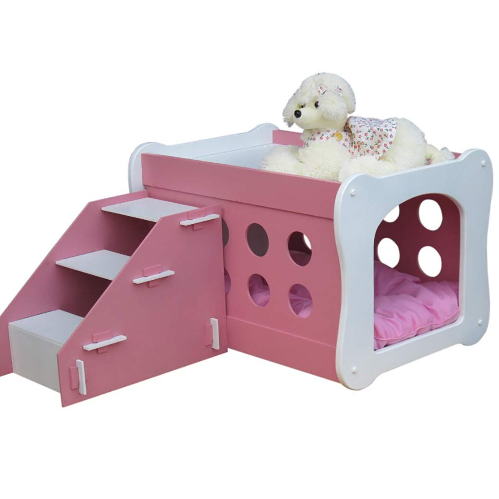 A FPigSHS Pet house With stairs Double storey house Wooden paint kennel Chalet Dog bed Cat house Pet supplies (color   A)