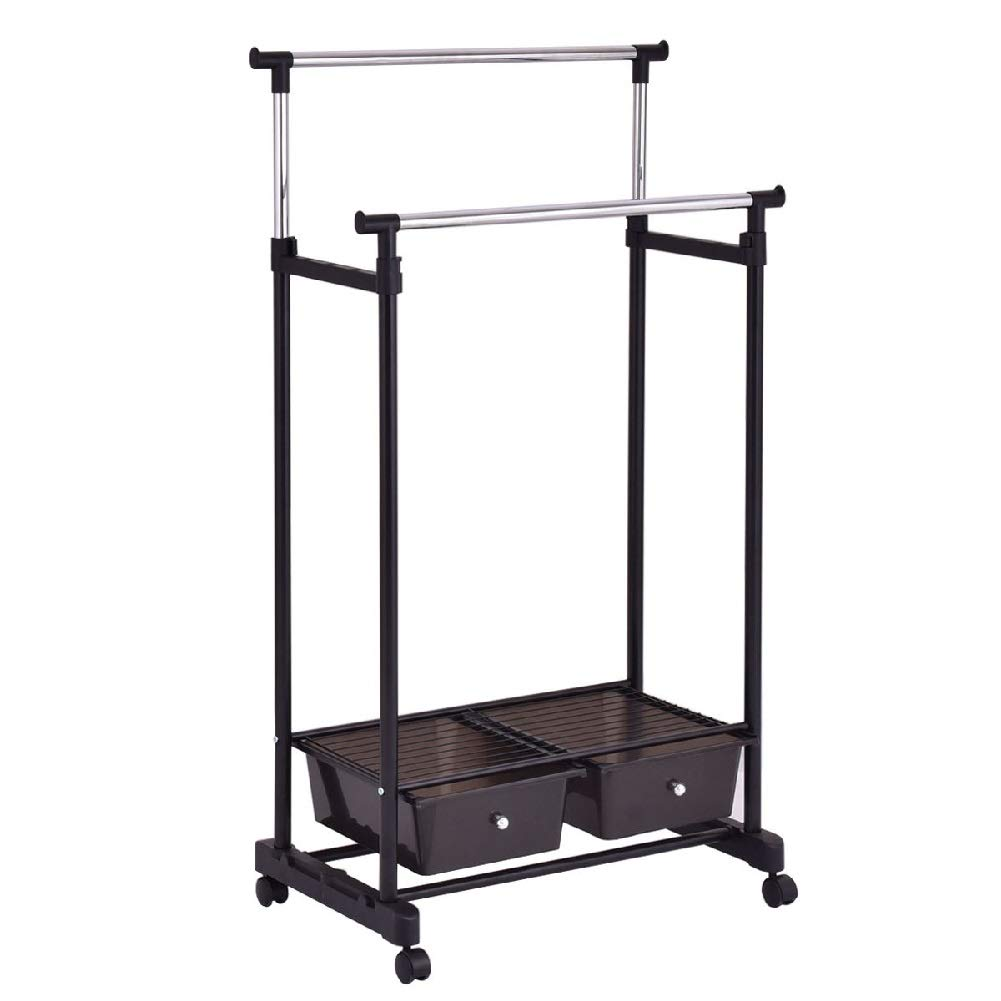 Drying Rack Towel Clothes Store Hanger Storage Stick Shelf Rolling Shelves Folding Drawers by Sgood (Image #1)