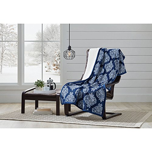 """Better Homes and Gardens Super Soft and Warm Winter Velvet Plush Reversible to Sherpa Throw Blanket, Fun Prints with Solid Cream Back, 50"""" x 60"""" (Indigo Damask) from Better Homes & Gardens"""
