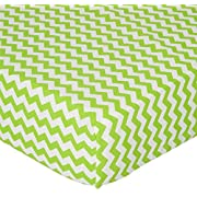 SheetWorld Fitted Crib/Toddler Sheet - Lime Chevron Zigzag - Made In USA