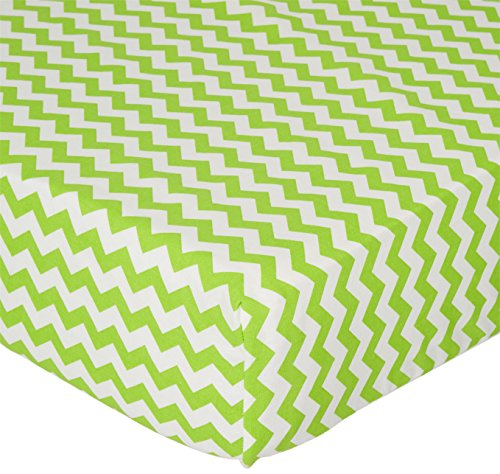 SheetWorld Fitted Crib / Toddler Sheet - Lime Chevron Zigzag - Made In USA ()