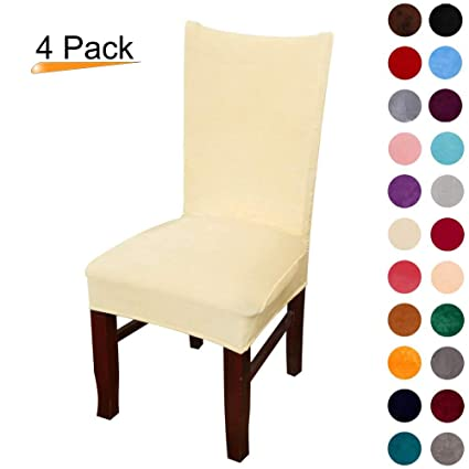 Attractive Velvet Stretch Dining Chair Slipcovers   Spandex Plush Short Chair Covers  Solid Large Dining Room Chair