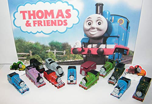 Playful Toys Thomas The Tank Engine Deluxe Figure Set of 14 Toy Kit with 12 Figures (No Moving Parts) and 2 Thomas ToyRings Featuring Bus Bertie, Rosie and All The Popular Characters! (Thomas The Tank Engine Bag With Wheels)