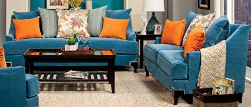 Furniture of America Cyanna 2 Piece Sofa Set, Peacock Blue