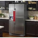 Vezfinel Refrigerator Door Handle Covers,Fridge Oven Dishwasher Protectoer,Catch Fingerprints&Smudges Kitchen Appliances Handmade Decoration (Red lattice)