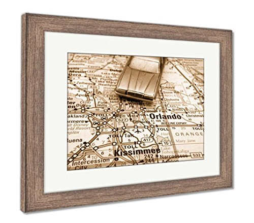 Ashley Framed Prints Driving To Disney, Wall Art Home Decoration, Sepia, 30x35 (frame size), Rustic Barn Wood Frame, AG6128581