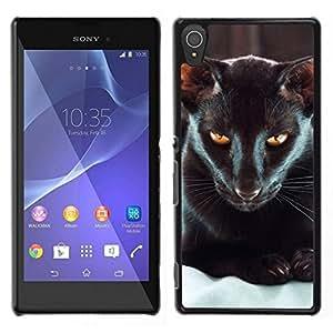 // PHONE CASE GIFT // Duro Estuche protector PC Cáscara Plástico Carcasa Funda Hard Protective Case for Sony Xperia T3 / Oriental Havana Black Cat Yellow Eyes /