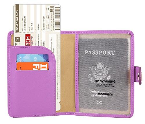 Zoppen Rfid Blocking Travel Passport Holder Cover Slim Id Card Case (30# Violet Purple)