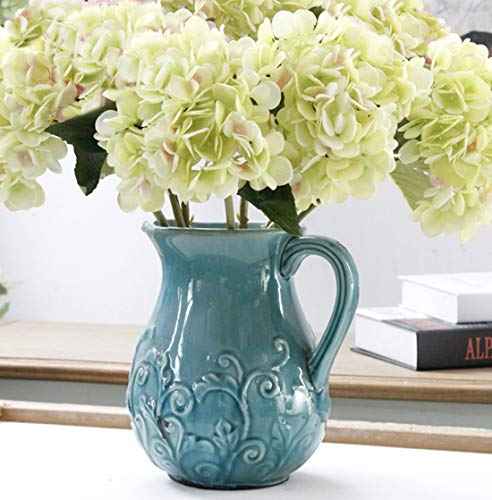 Furnily Hydrangea Artificial Flowers 5 Stems Faux Flower Arrangements Silk Flowers for Wedding Bouquet (Green) (Faux Hydrangea Flowers)