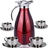 Thermal Carafe Plus Coffee Tea Mugs by Chefcoo™ Includes Pitcher, 4 Mugs Saucers and Spoons - Double Wall Pot Best for Hot and Cold Beverages - Holds Temperature for 24 Hours - Red Color
