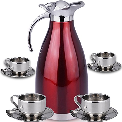 Beverage Spoon Set (Thermal Carafe Plus Coffee Tea Mugs by Chefcoo™ Includes Pitcher, 4 Mugs Saucers and Spoons - Double Wall Pot Best for Hot and Cold Beverages - Holds Temperature for 24)