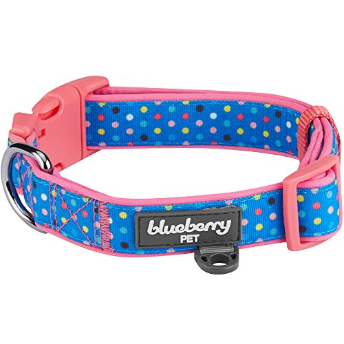 Blueberry Pet 13 Patterns Multicolor Polka Dot Neoprene Padded Dog Collar in Brink Pink, Medium, Neck 14.5-20, Adjustable Collars for Dogs