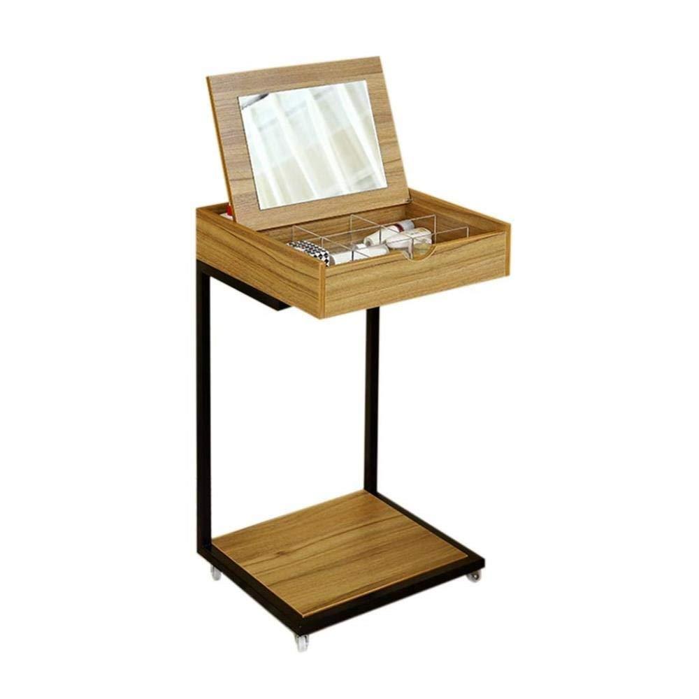 FENGFAN Mobile Makeup Table, Single Table Separate Storage Box Work Desk Desk Simple Dressing Table Bedroom Dressing Table (Color : Wood Color)