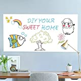 Office Products : Rabbitgoo White Board Sticker 17.7 by 78.7 Inches Self-Adhesive Wall Sticker Contact Paper for School/ Office/ Home with 1 Marker Pen (for Dry Erase Marker Pen)