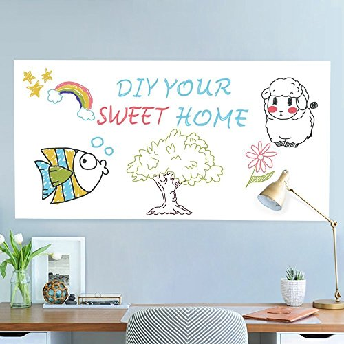 Rabbitgoo White Board Sticker 17.7 by 78.7 Inches Self-Adhesive Wall Sticker Contact Paper for School/ Office/ Home with 1 Marker Pen (for Dry Erase Marker Pen)