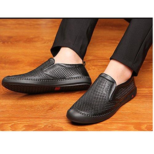 Sandalias Black Masculinas Hombres Perezoso Huecos Transpirables Personas Judías pedaleo Zapatos qc4xECwfzf