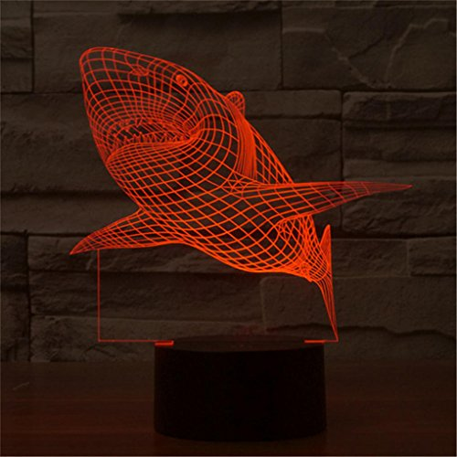 Shark Creative Creature 3D Acrylic Visual Home Touch Table Lamp Colorful Art Decor USB LED Children's Desk Night Light 3D-TD08 by AUCD (Image #7)