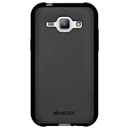 Amzer Pudding Soft Gel TPU Skin Fit Case Cover for Samsung Galaxy J1 SM-J100H - Retail Packaging - Black
