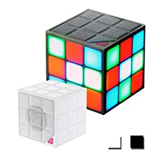 Geekercity Portable Bluetooth Speaker Magic Rubik's Cube 36 LED RGB Colorful Light Deep Bass Wireless Subwoofer with Build in Microphone Handsfree Function TF Card Mode (Black)