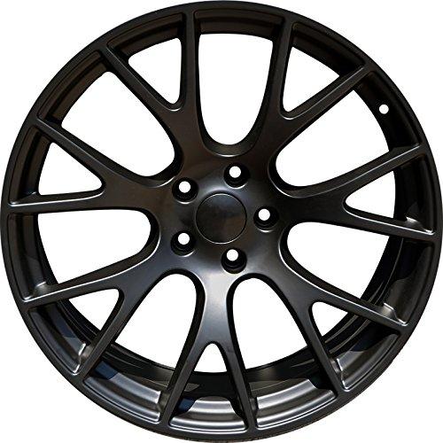 (C92-20 inch Matte Black Wheels fits DODGE CHARGER SRT HELLCAT 20x9 5x115 ET21 CB71.5)