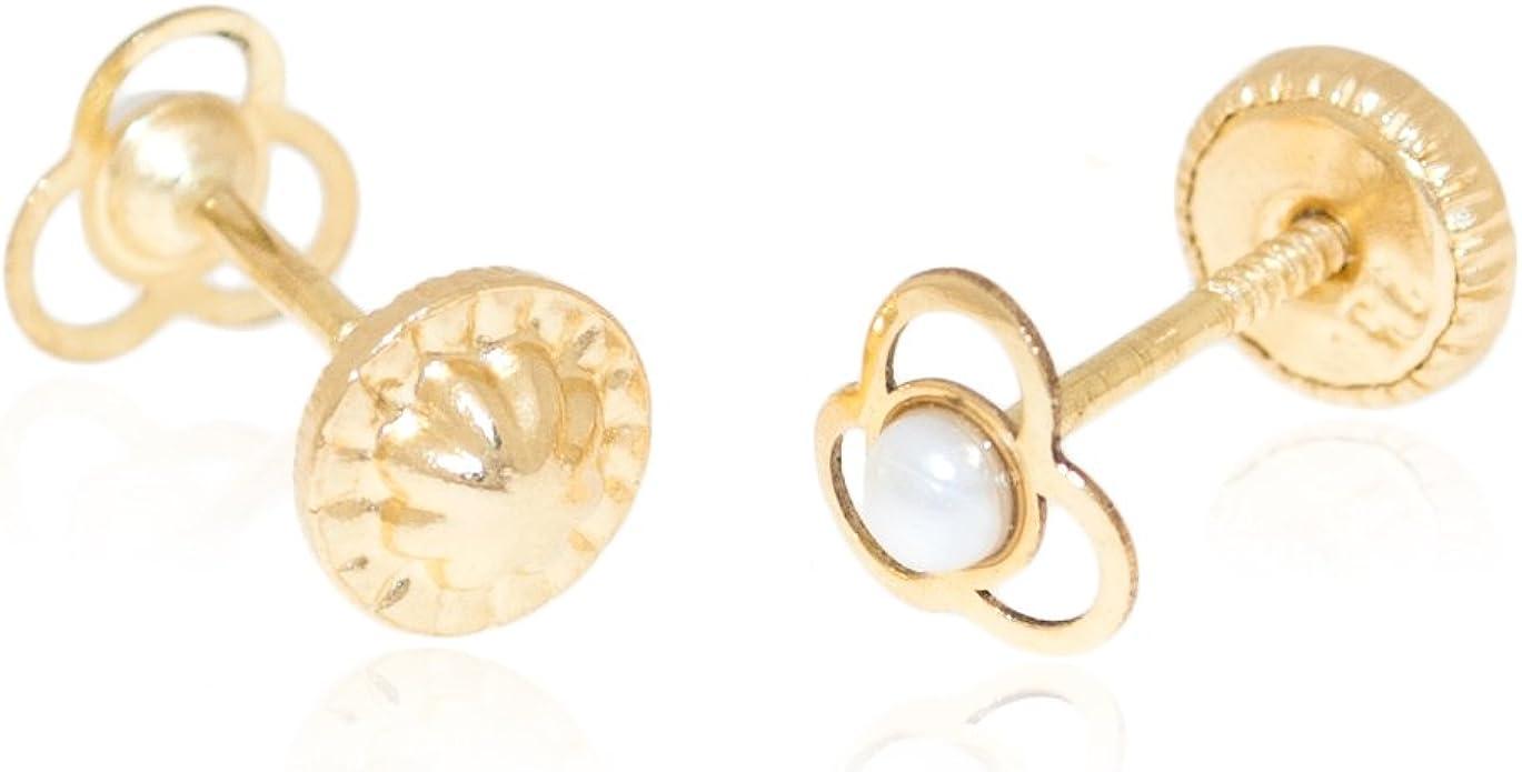 Or Jaune 750//1000 18 Carats Boucles dOreilles Enfant Trebol perle